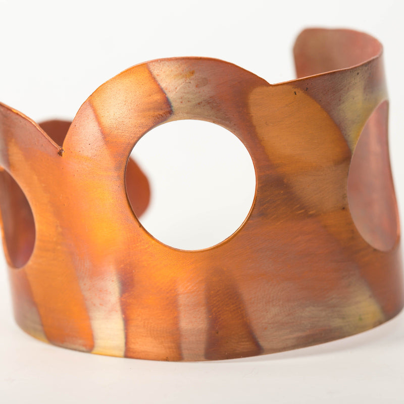 Bracelet - Flame Painted Copper Cuff – Asymmetrical Bracelet | Tinklet Jewelry