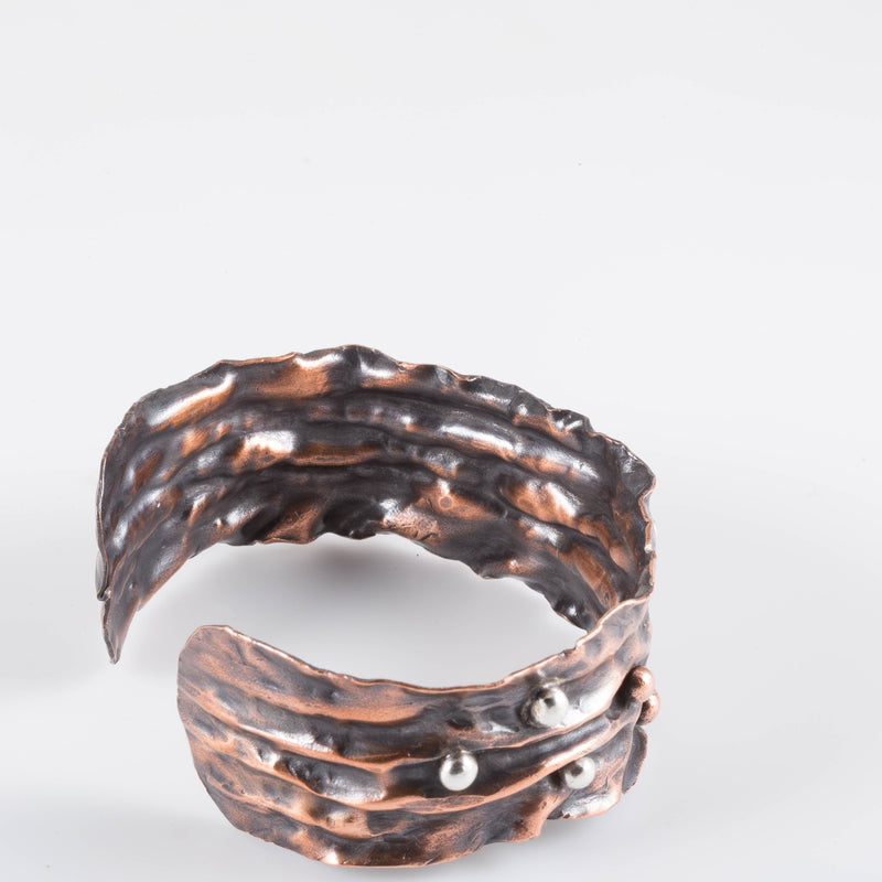 Bracelet - Fold Formed Copper Cuff – Silver Accents | Tinklet Jewelry