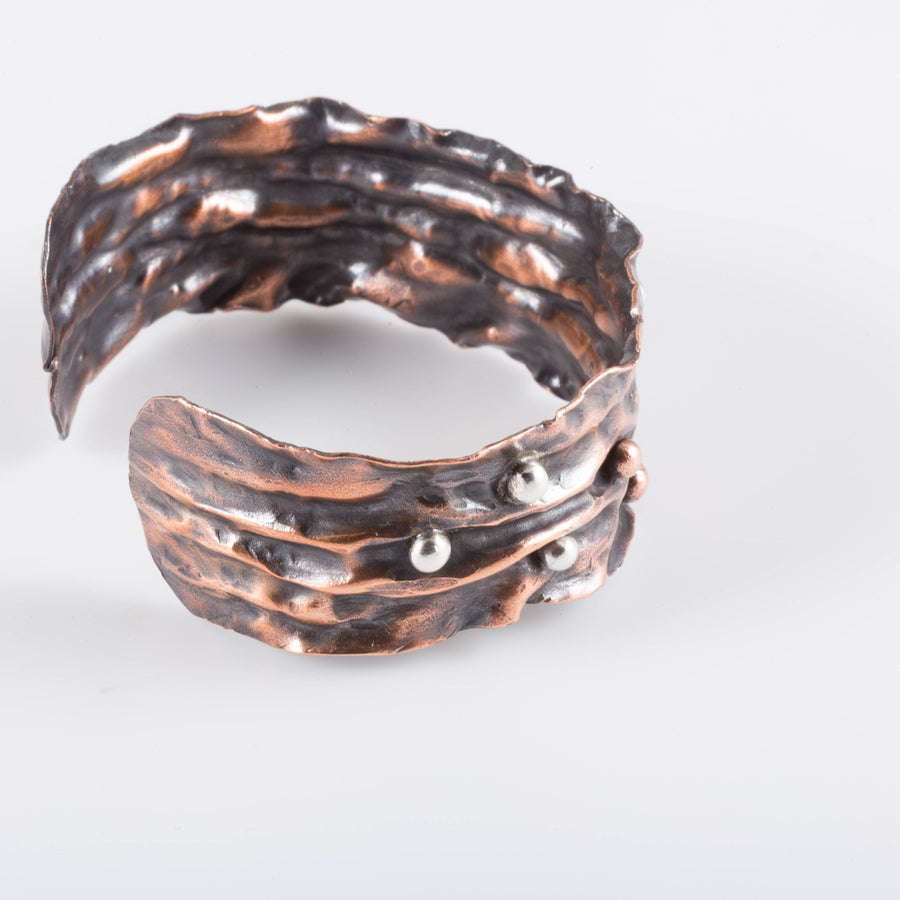 Fold Formed Copper Cuff – Silver Accents | Tinklet Jewelry Bracelet Tinklet