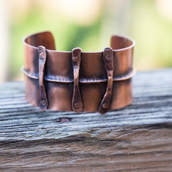 rustic fold formed copper cuff