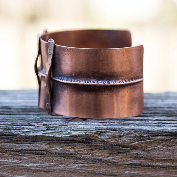 unisex hammered copper cuff