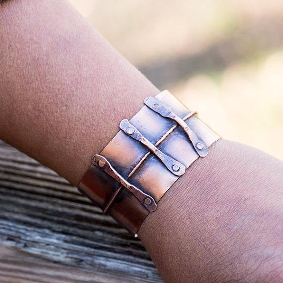 adjustable hammered copper cuff bracelet
