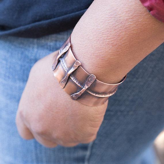 antiqued copper cuff for men or women