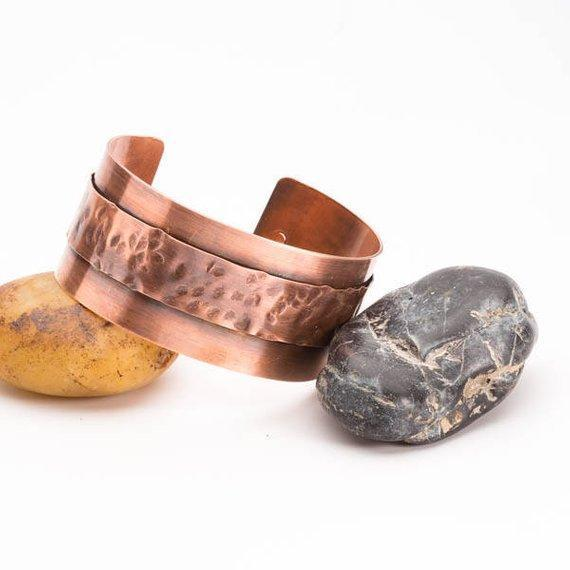 Bracelet - Hammered Copper Cuff – Textured Bracelet – Tinklet Jewelry