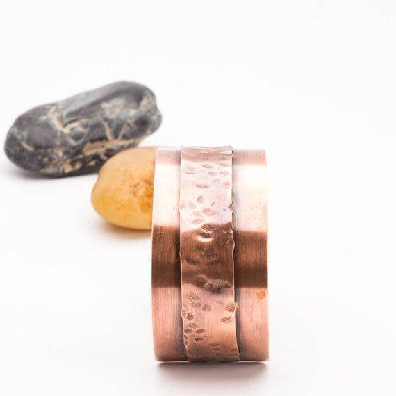 Layered copper cuff bracelet by Tinklet Jewelry