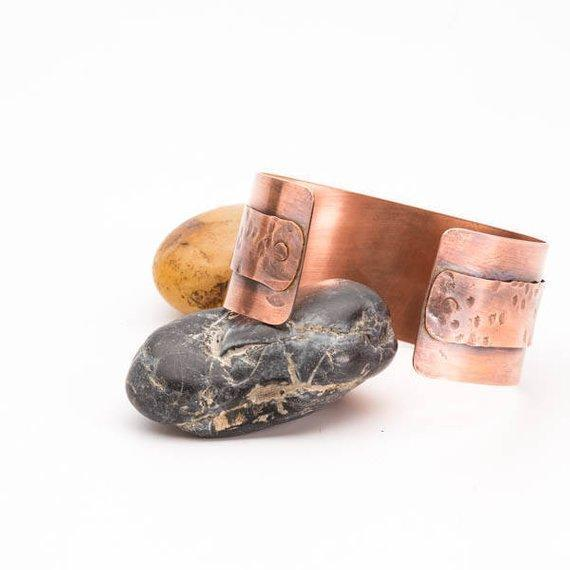 antiqued textured copper cuff bracelet from tinklet jewelry