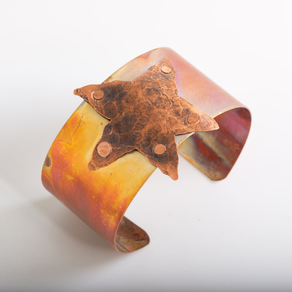 flamed copper cuff bracelet