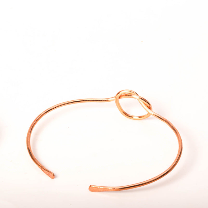 Bracelet - Minimalist Copper Cuffs, Lovers Knot Cuff,  Sailors Knot Cuff, Spring Coiled Cuff, Unisex | Tinklet Jewelry