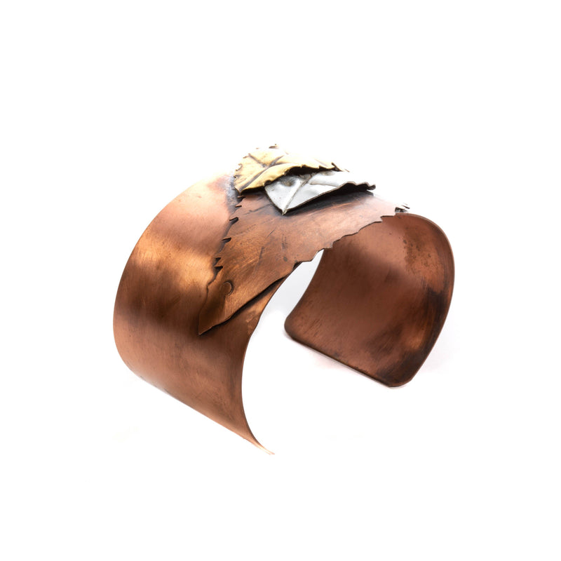 three riveted leaves on copper cuff