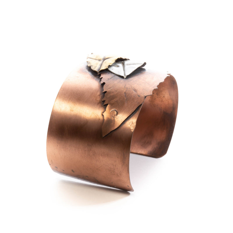 Bracelet - Mixed Metal Leaf Cuff | Bracelets | Tinklet Jewelry