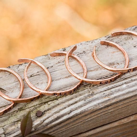 Bracelet - Personalized Copper Bangle - Stamped Cuff | Tinklet Jewelry