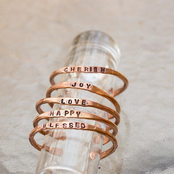 Personalized Copper Bangle - Stamped Cuff | Tinklet Jewelry Bracelet Tinklet
