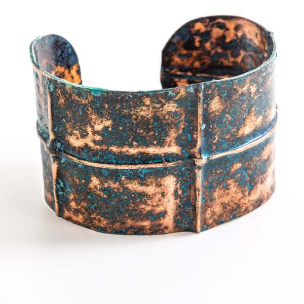 Bracelet - Rustic Blue Copper Cuff – Fold Formed | Tinklet Jewelry