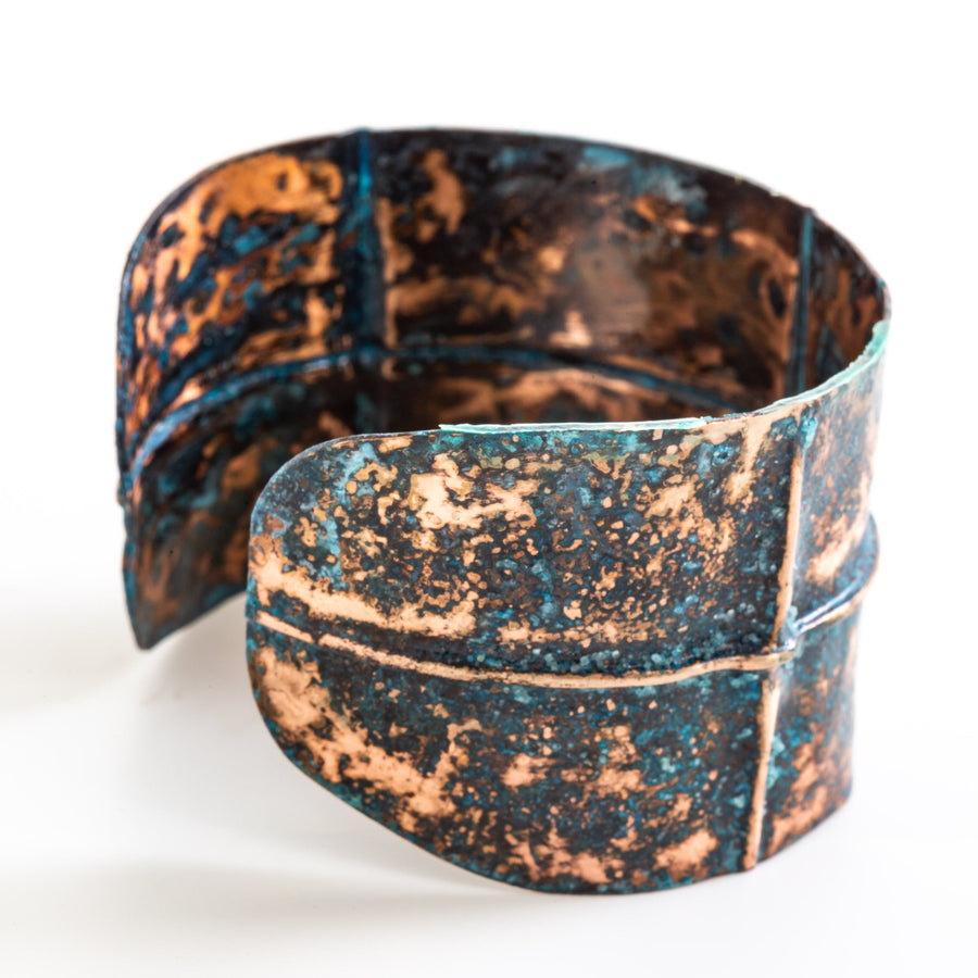 Rustic Blue Copper Cuff – Fold Formed | Tinklet Jewelry Bracelet Tinklet