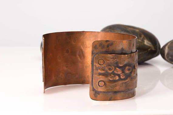 Bracelet - Rustic Copper Cuff – Hammered Design | Tinklet Jewelry