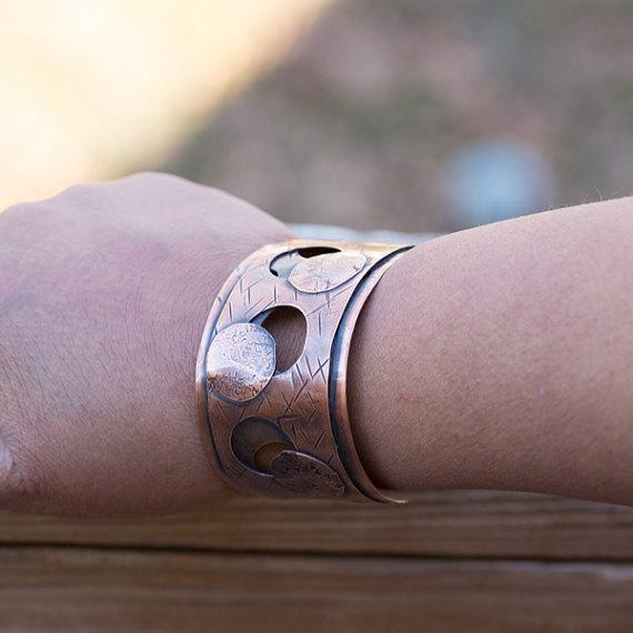 Bracelet - Textured Copper Cuff – Negative Space | Tinklet Jewelry