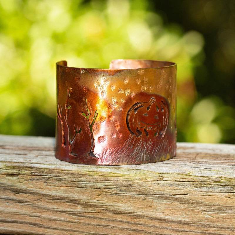 Bracelet - Torched Copper Cuff – Fall Pumpkin | Tinklet Jewelry