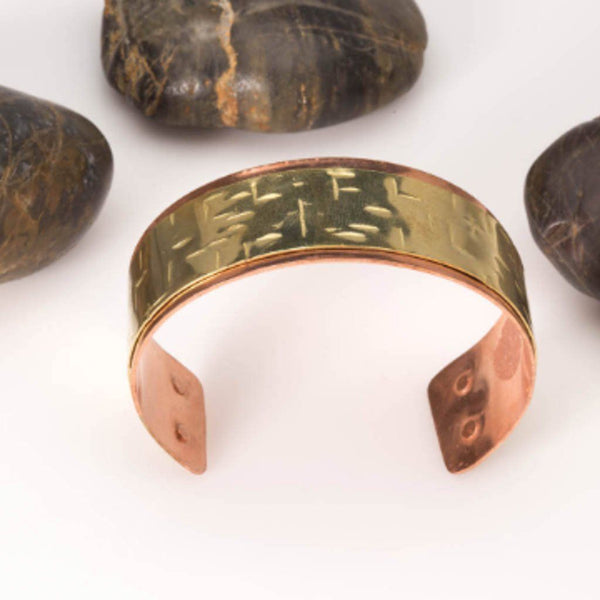 brass and copper mixed metal cuff