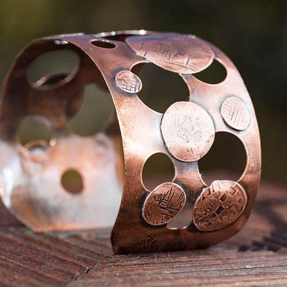 Wide Copper Cuff by Tinklet Jewelry