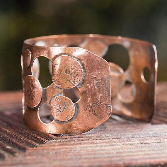 Bracelet - Wide Copper Cuff – Negative Space Design | Tinklet Jewelry