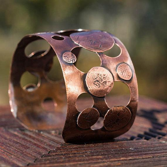 2 inch wide copper cuff by Tinklet Jewelry