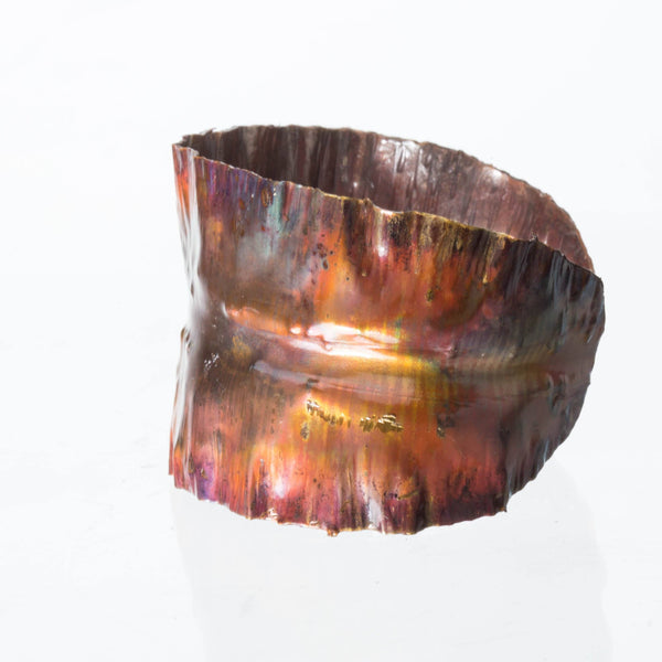 Bracelet - Wide Copper Statement Cuff – Flame Painted | Tinklet Jewelry