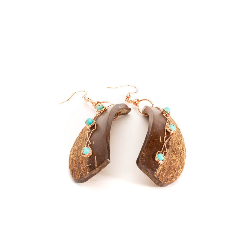 Natural Coconut Shell with Turquoise Earrings |Tinklet Jewelry