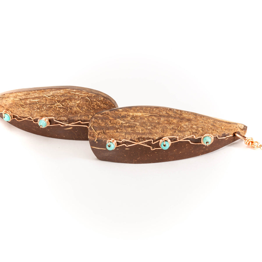 Natural Coconut Shell with Turquoise Earrings |Tinklet Jewelry Earring Tinklet