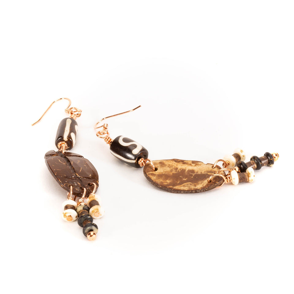 Beach Natural Coconut Shell Earrings | Tinklet Jewelry