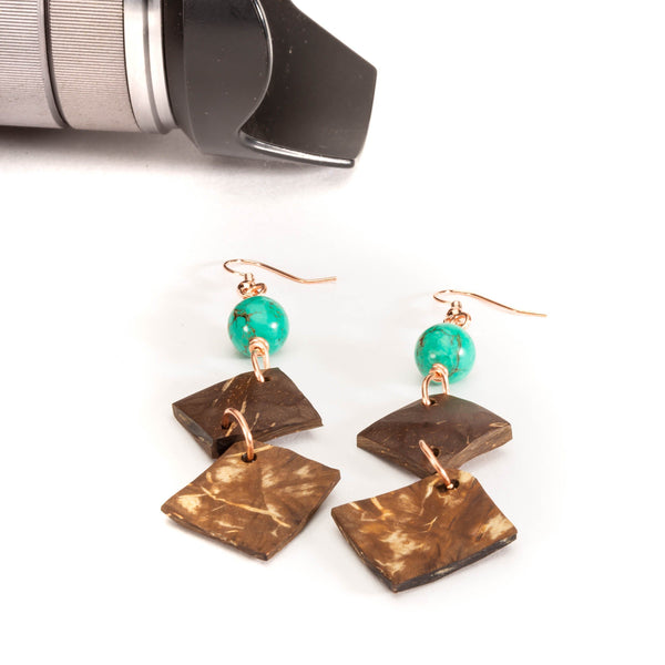 Long Dangle Triangle Coconut Shell Earrings | Tinklet Jewelry