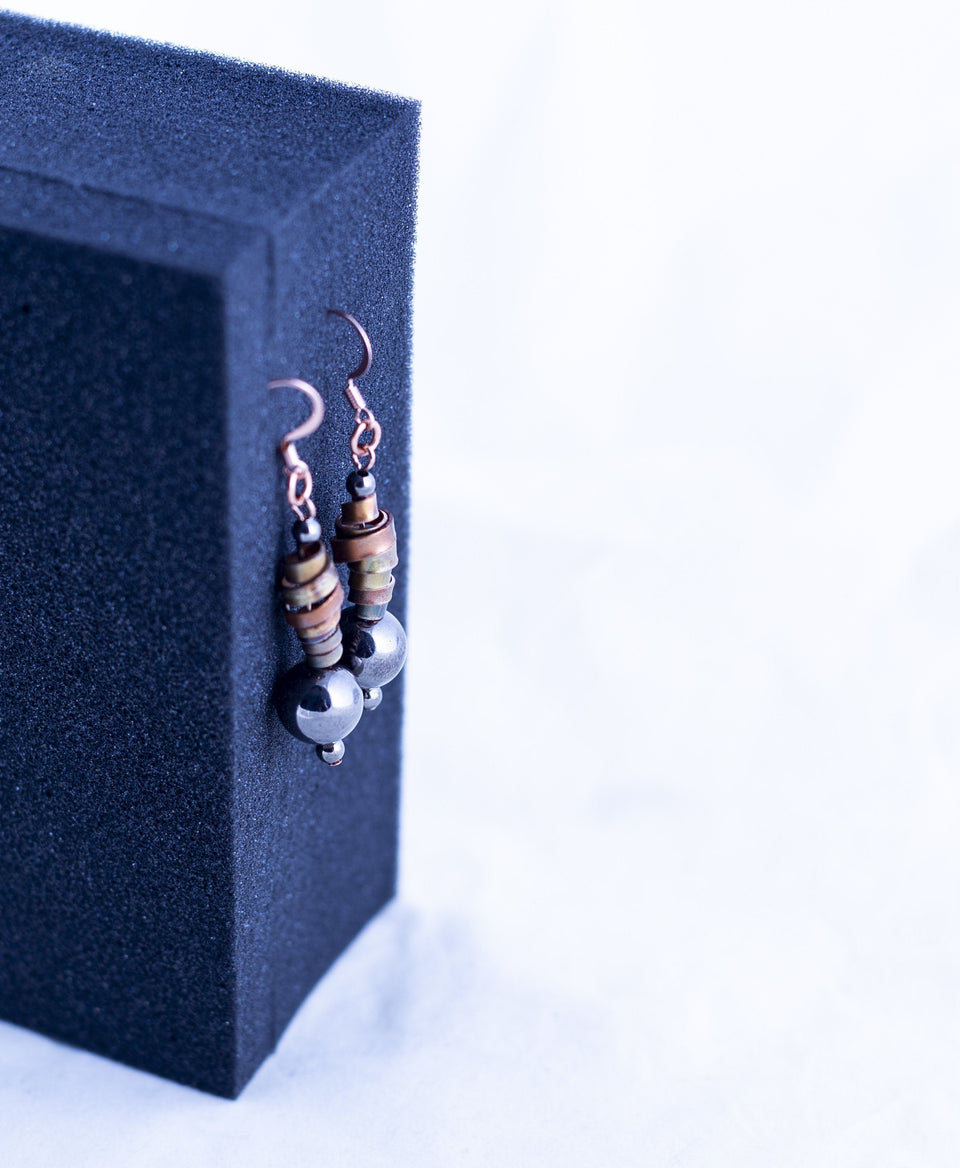 Black Beaded Copper Earring | Tinklet Jewelry Earring Tinklet