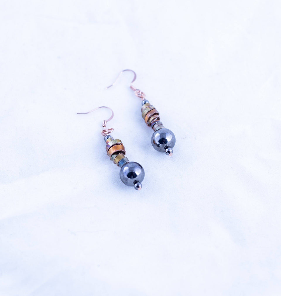 Black Beaded Copper Earring | Tinklet Jewelry