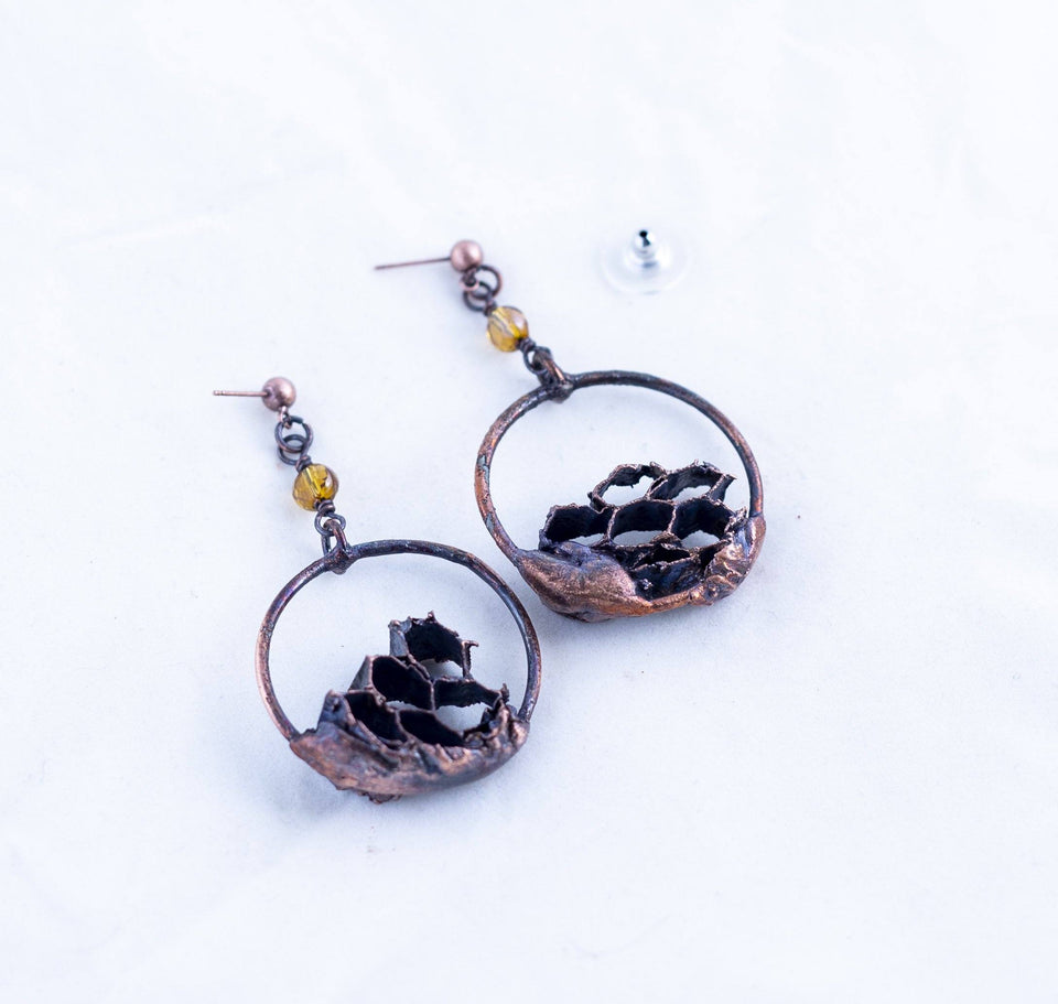 Wasp Nest Copper Hoop Earrings | Tinklet Jewelry