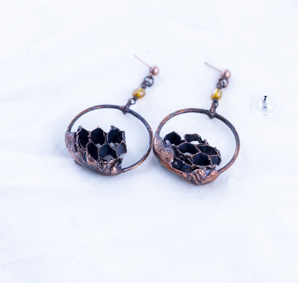 Wasp Nest Copper Hoop Earrings | Tinklet Jewelry Earring Tinklet