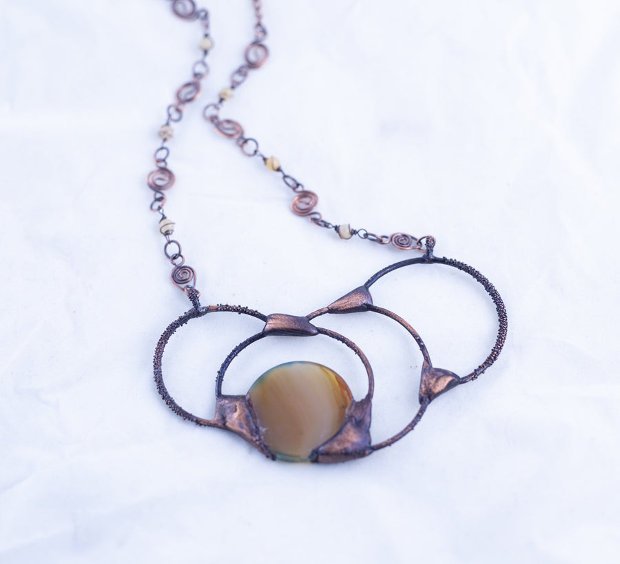 Copper Bib Agate Statement Necklace | Tinklet Jewelry necklace/pendant Tinklet