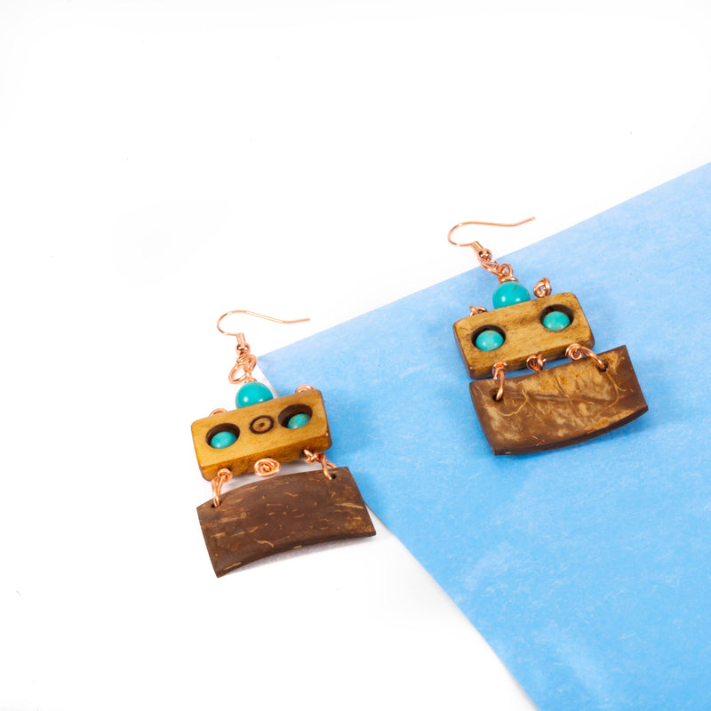 Turquoise Wood and Coconut Shell Earrings |  Tinklet Jewelry