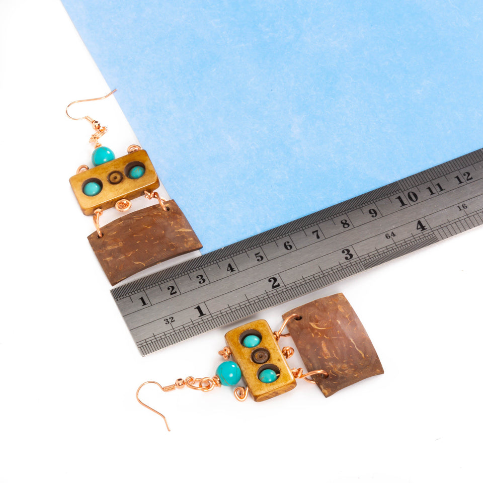 Turquoise Wood and Coconut Shell Earrings | Tinklet Jewelry Earring Tinklet