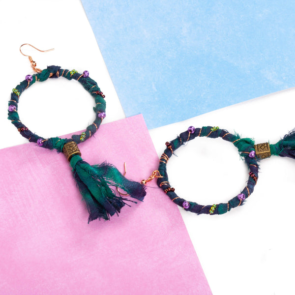 Beaded Wrapped Copper Boho Hoops | Tinklet Jewelry