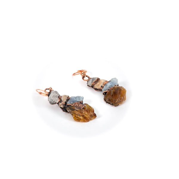 kynite, amber and quartz earrings