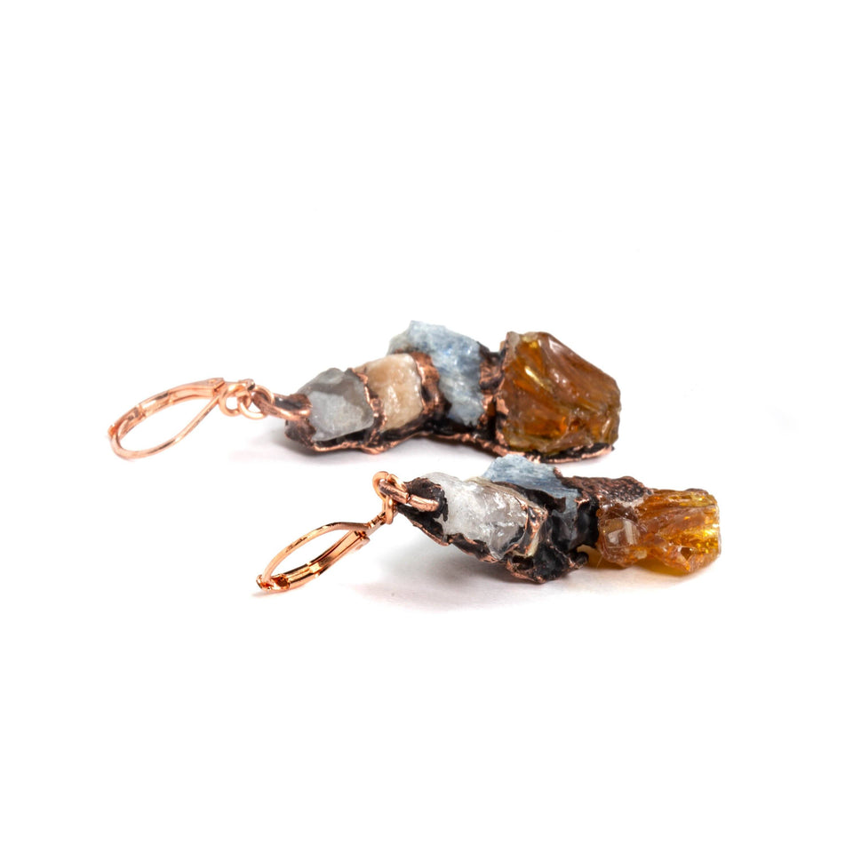 french lever back copper earrings