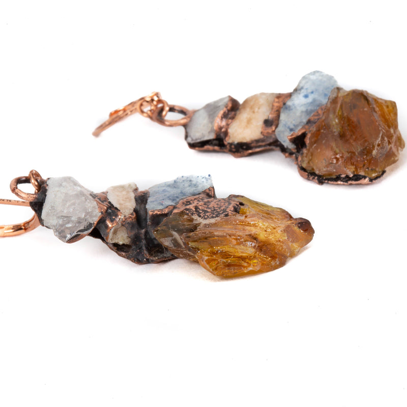 stacked stone copper earrings