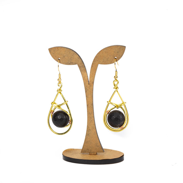 Black Onyx and Brass Women's Fashion Earrings | Tinklet Jewelry