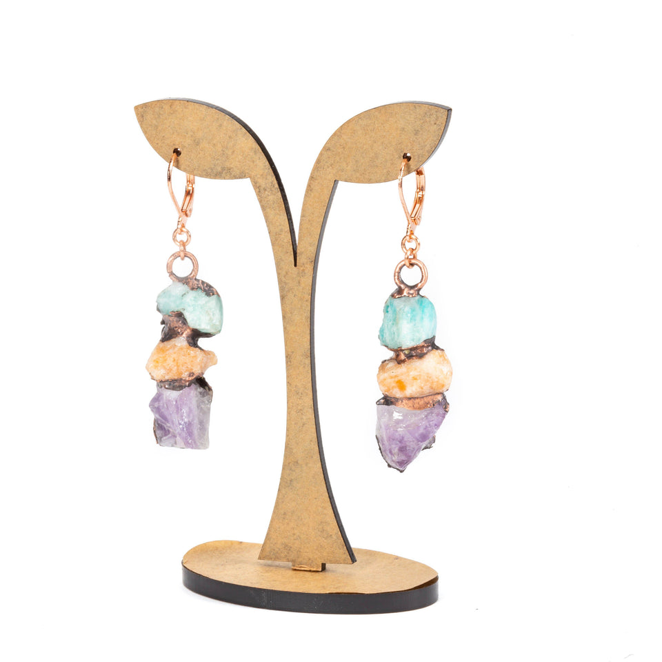 Electroformed Gypsy Inspired Stone and Copper Earrings | Tinklet Jewelry