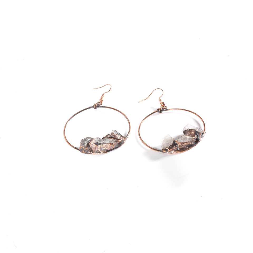Raw Quartz Copper Hoop Earrings | Tinklet Jewelry Earring Tinklet Jewelry