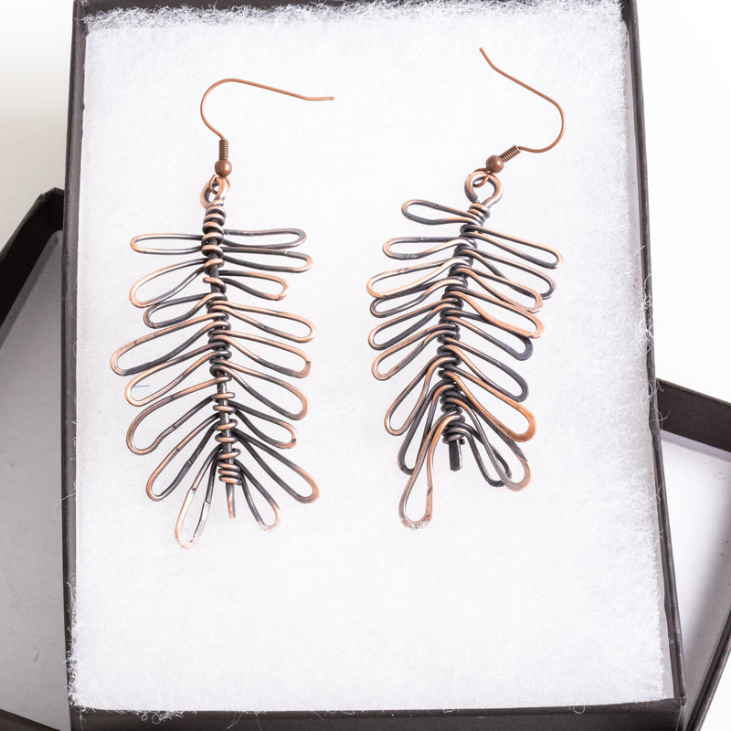 Earring - Abstract Copper Wire Earrings | Dangles | Tinklet Jewelry