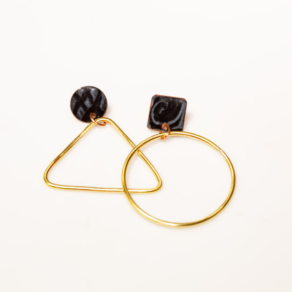 Earring - Black And White Brass Earrings – Studs | Tinklet Jewelry