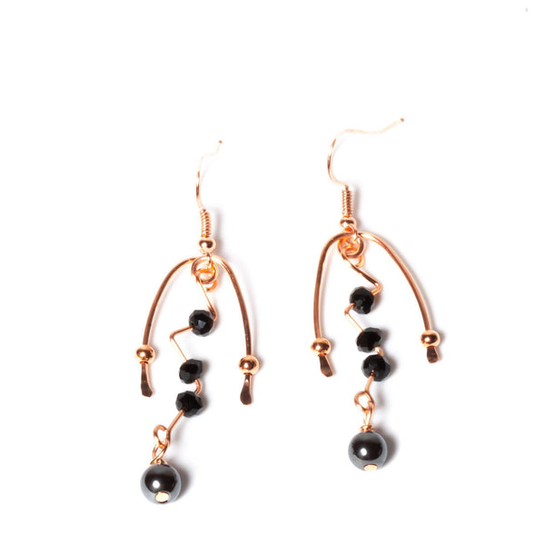 Earring - Black Glass & Hematite Earrings | Beaded | Tinklet Jewelry