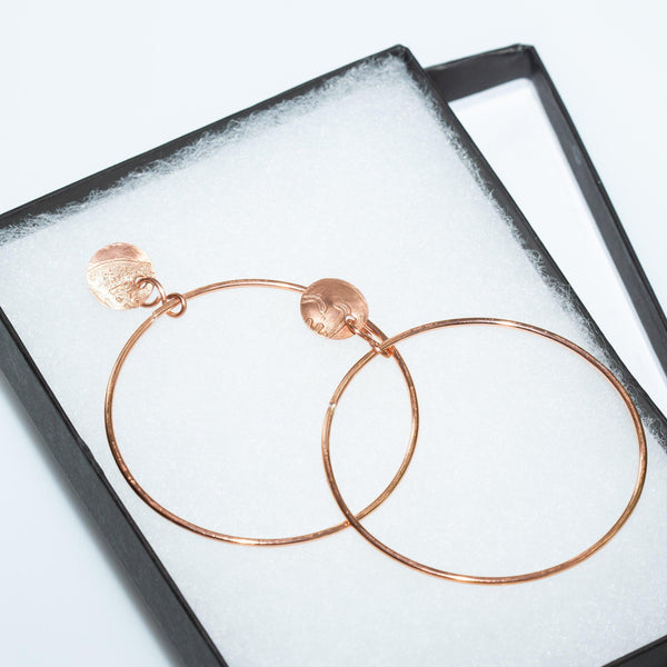 Earring - Casual Everyday Copper Hoop Earrings - Studs |  Tinklet Jewelry