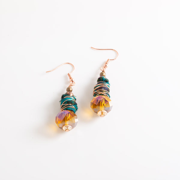 Earring - Glass Honey Bead And Silk Earrings - Dangles | Tinklet Jewelry