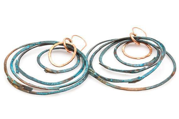 Earring - Large Ethnic Copper Blue Rustic Hoops – Earrings | Tinklet Jewelry